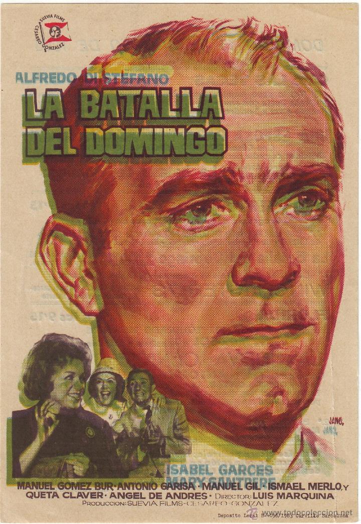 LA BATALLA DEL DOMINGO 1965 ALFREDO DI STEFANO. CINE DE DON BENITO (Cine - Folletos de Mano - Deportes)
