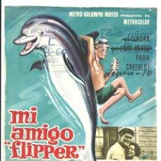 Flyers Publicitaires de films Anciens: MI AMIGO FLIPPER CHUCK CONNORS LUKE HALPIN PROGRAMA PRUEBA DE IMPRENTA DEL CARTEL. Lote 46786278
