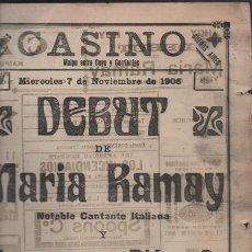 Cine: FOLLETO Ó PROGRAMA DE CIRCO TEATRO CASINO AÑO 1906 LOS BAU MALAGA 4 PAG BUEN ESTADO. Lote 46852270