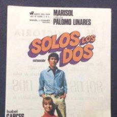 Cine: SOLOS LOS DOS. MARISOL. SEBASTIAN PALOMO LINARES. LUIS LUCIA. CINE VICTORIA. BADALONA.. Lote 46886466