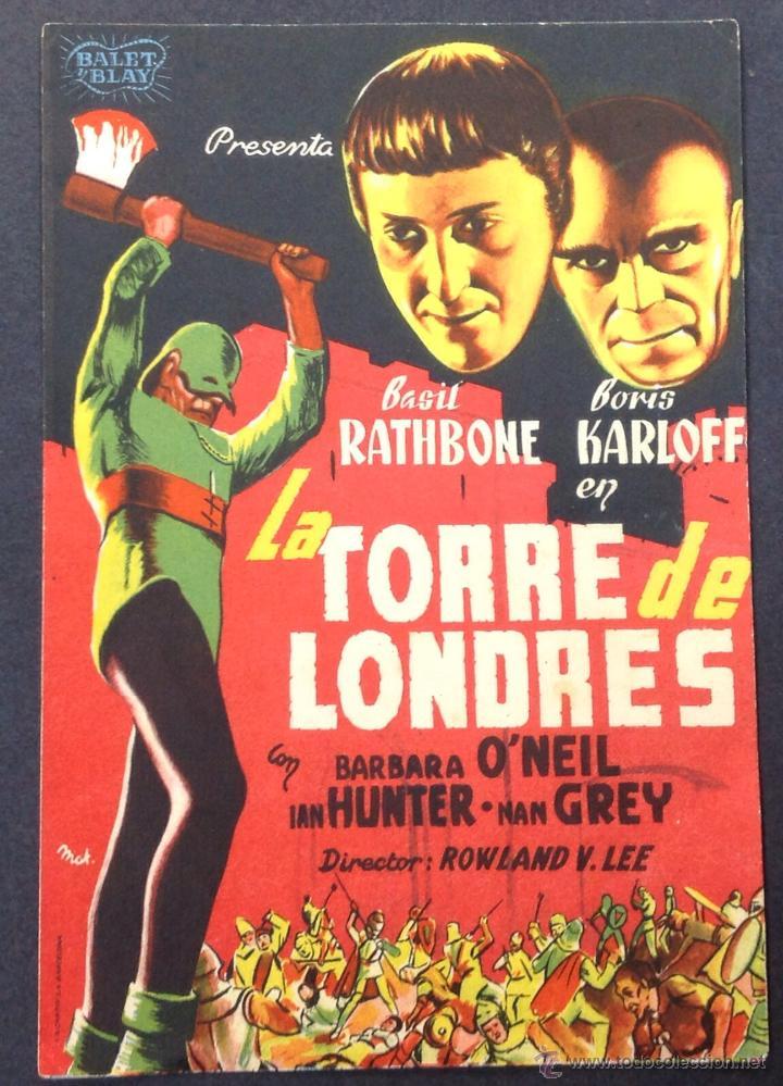 LA TORRE DE LONDRES. BORIS KARLOFF. BASIL RATHBONE. (Cine - Folletos de Mano - Terror)