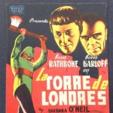 Cine: LA TORRE DE LONDRES. BORIS KARLOFF. BASIL RATHBONE.. Lote 46969231
