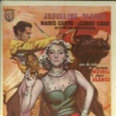 Foglietti di film di film antichi di cinema: PROGRAMA DE MANO DE LA PELICULA LA MUJER EL TORERO Y EL TORO CON MARIO CABRE. Lote 46969487