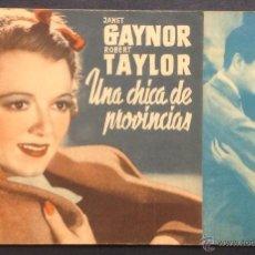 Cine: UNA CHICA DE PROVINCIAS. JANET GAYNOR. ROBERT TAYLOR. CINE DORE. SALON CATALUÑA.. Lote 47018646