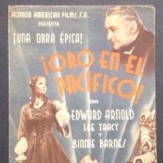 Cine: ¡ORO EN EL PACÍFICO!. EDWARD ARNOLD. LEE TRACY. BINNIE BARNES.. Lote 47051312