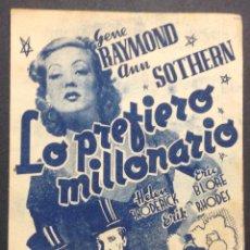 Cine: LO PREFIERO MILLONARIO. GENE RAYMOND. ANN SOTHERN. . Lote 47053519