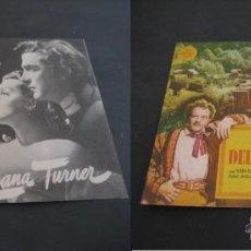 Cine: LA CALLE DEL DELFIN VERDE 1948. LANA TURNER. CINE DORADO, ZARAGOZA. DOBLE CON PUBLICIDAD. Lote 47133615