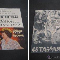 Cine: CITA DE AMOR. CHARLES BOYER. CINE DORADO, ZARAGOZA. DOBLE CON PUBLICIDAD. Lote 47133814