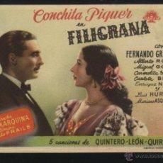 Cine: P-4972- FILIGRANA (DISTRIBUIDORA APARICIO) CONCHA PIQUER - FERNANDO GRANADA - CARLOTA BILBAO. Lote 24217043