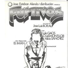 Cine: FURTIVOS PROGRAMA TARJETA JOSE ESTEBAN ALENDA JOSE LUIS BORAU IVAN ZULUETA. Lote 47326704
