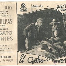 Cine: EL GATO MONTES PROGRAMA DOBLE EXCLUSIVAS MANZANO CINE ESPAÑOL ROSARIO PI PABLO HERTOGS. Lote 47327693