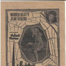 Cine: LILITH PROGRAMA LOCAL DOBLE CINE ALEXIS WARREN BEATTY JEAN SEBERG. Lote 47340158
