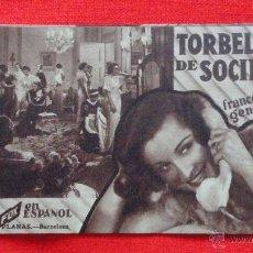Cine: TORBELLINO DE SOCIEDAD, TARJETA ORIGINAL FOX, EXCTE-ESTADO, FRANCES DEE GENE ROMOND, SIN PUBLICIDAD. Lote 47388198