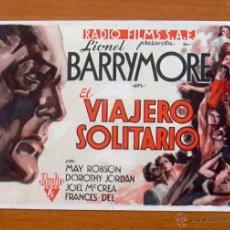 Cine: EL VIAJERO SOLITARIO - 1933 - LIONEL BARRYMORE, MAY ROBSON - PUBLICIDAD TEATRO BRETÓN, SALAMANCA. Lote 47423652