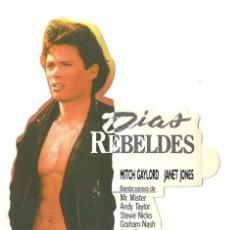 Cine: DIAS REBELDES PROGRAMA ADHESIVO TROQUELADO LAUREN VIDEO MITCH GAYLORD JANET JONES. Lote 47426480