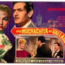Cine: UNA MUCHACHITA DE VALLADOLID 1958 (FOLLETO DE MANO ORIGINAL CON PUBLICIDAD CINE SAN ROQUE). Lote 277624283