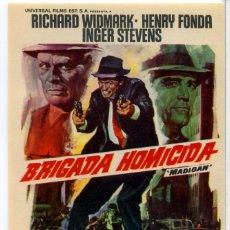 Cine: BRIGADA HOMICIDA 1968 (FOLLETO DE MANO ORIGINAL) RICHARD WIDMARK - HENRY FONDA -INGER STEVENS. Lote 294460573