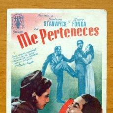 Cine: ME PERTENECES - BARBARA STANWYCK, HENRY FONDA - CON PUBLICIDAD. Lote 47534960