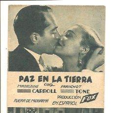 Cine: PROGRAMA PAZ EN LA TIERRA – TEATRE BOSC. Lote 47536692