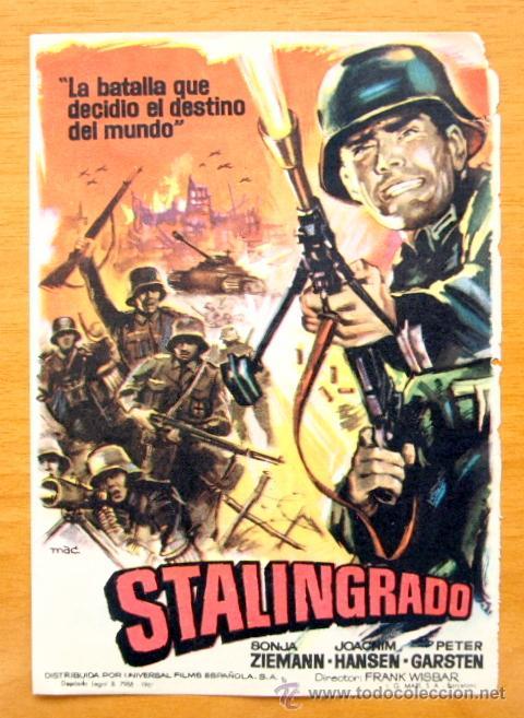 STALINGRADO - SONJA ZIEMANN, JOACHIM HANSEN, PETER GARSTEN - CON PUBLICIDAD (Cine - Folletos de Mano - Bélicas)