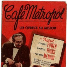 Cine: DIPTICO - CAFE METROPOL - TYRONE POWER - LORETTA YOUNG - ADOLPHE MENJOU. Lote 47720396