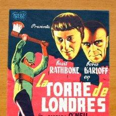 Cine: LA TORRE DE LONDRES - BASIL RATHBONE, BORIS KARLOFF - CON PUBLICIDAD. Lote 2386441