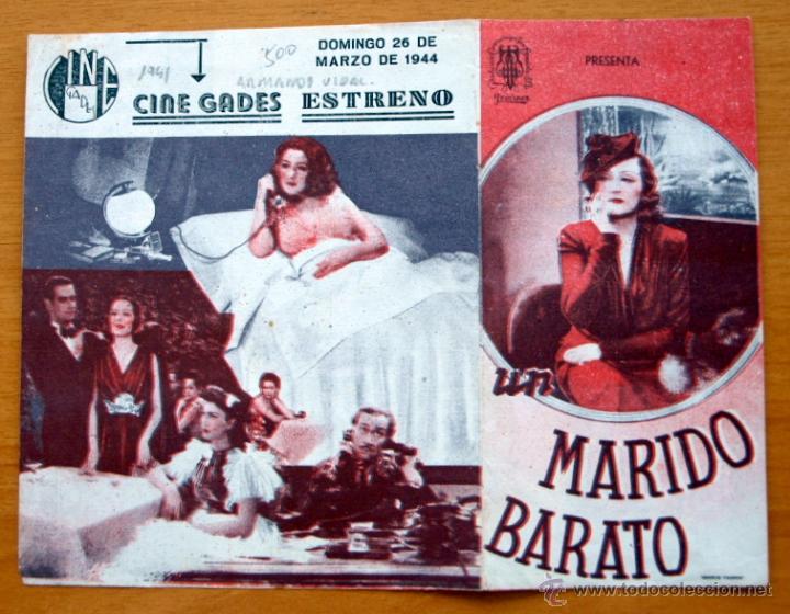 UN MARIDO BARATO - NINI MONTIAM, LUIS GARCIA ORTEGA, SOSITA MONTAÑA - CON PUBLICIDAD (Cine - Folletos de Mano - Comedia)