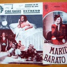 Cine: UN MARIDO BARATO - NINI MONTIAM, LUIS GARCIA ORTEGA, SOSITA MONTAÑA - CON PUBLICIDAD. Lote 2388780
