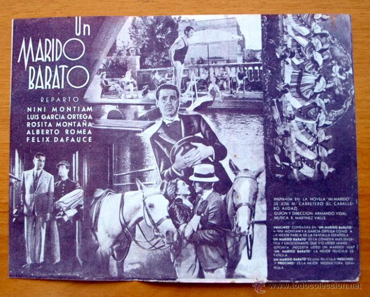 Cine: Un marido barato - Nini Montiam, Luis Garcia Ortega, Sosita Montaña - Con publicidad - Foto 2 - 2388780
