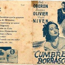 Cine: DIPTICO - CUMBRES BORRASCOSAS - MERLE OBERON - LAURENCE OLIVIER - DAVID NIVEN. Lote 47803455