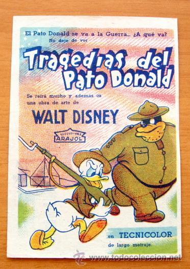 TRAGEDIAS DEL PATO DONALD - WALT DISNEY - ARAJOL - DIBUJOS ANIMADOS - CON PUBLICIDAD (Cine - Folletos de Mano - Infantil)