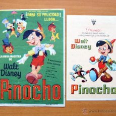 Cine: PINOCHO - WALT DISNEY - DIBUJOS ANIMADOS - CON PUBLICIDAD. Lote 47848846