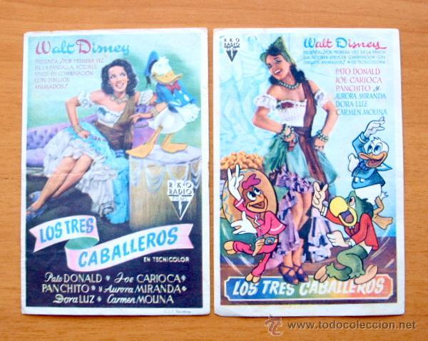 LOS TRES CABALLEROS - WALT DISNEY - DIBUJOS ANIMADOS - CON PUBLICIDAD (Cine - Folletos de Mano - Infantil)