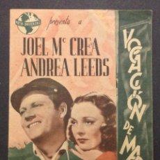 Cine: VOCACIÓN DE MARINO. ANDREA LEEDS. JOEL MC CREA. CINEMA VICTORIA.. Lote 47849092