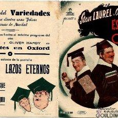 Cine: DIPTICO - CIFESA -STAN LAUREL - OLIVER HARDY - ESTUDIANTES EN OXFORD - DORSO CINE VARIEDADES MANACOR. Lote 47897712