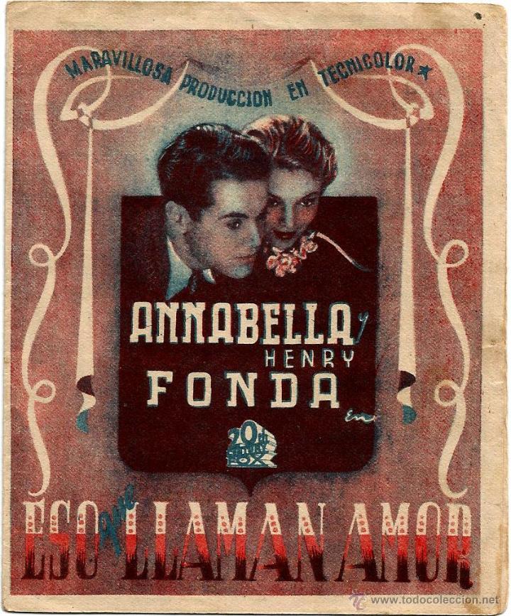 DIPTICO - ESO QUE LLAMAN AMOR - HENRY FONDA - ANNABELLA- LESLIE BANKS - JOHN MCCORMACK (Cine - Folletos de Mano - Drama)