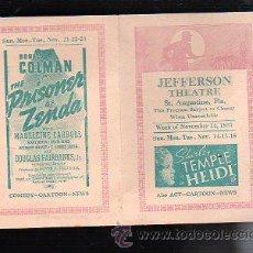 Cine: PROGRAMA DE MANO SEMANAL. 1937. SHIRLEY TEMPLE, GRETA GARBO, CHARLIE CHAN, HUMPHREY BOGART. Lote 47912214