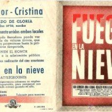 Cine: DIPTICO - FUEGO EN LA NIEVE - VAN JOHNSON - RICARDO MONTALBAN - JOHN HODIAK - DORSO CINE WINDSOR CRI. Lote 47919707