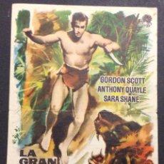 Cine: LA GRAN AVENTURA DE TARZAN. GORDON SCOTT. ANTHONY QUAYLE. SARA SHANE. CINE MAJESTIC. 1962.. Lote 47968230