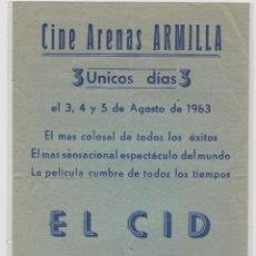 Cine: PROGRAMA CINE LOCAL--EL CID. Lote 48023270