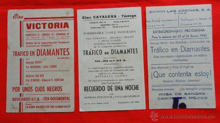 Cine: trafico en diamantes, 1 tarjeta 2 sencillos, isa miranda george brent, con publicidad los 3 - Foto 2 - 57043212