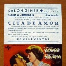 Cine: CITA DE AMOR - CHARLES BOYER, MARGARET SULLAVAN - CON PUBLICIDAD. Lote 48114960