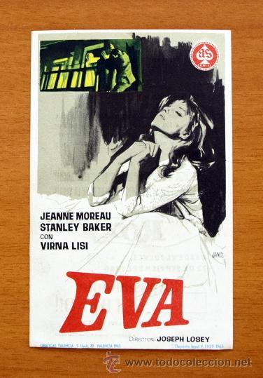 EVA - JEANNE MOREAU, STANLEY BAKER, VIRNA LISI - PUBLICIDAD CINE ROXY, SANTANDER (Cine - Folletos de Mano - Acción)