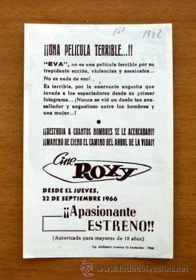 Cine: EVA - Jeanne Moreau, Stanley Baker, Virna Lisi - Publicidad Cine Roxy, Santander - Foto 2 - 13590207
