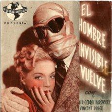 Cine: DIPTICO - EL HOMBRE INVISIBLE VUELVE - VINCENT PRICE - DORSO CINE RECREATIVO TENERIFE. Lote 114292915
