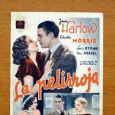 Cine: LA PELIRROJA - JEAN HARLOW, CHESTER MORRIS, LEWIS STONE - CON PUBLICIDAD. Lote 23692534