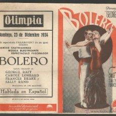 BOLERO - 1934 - GEORGE RAFT - CAROLE LOMBARD - ABIERTO 19,3 X 15,2 CM