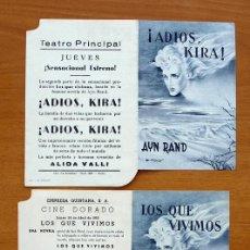 Cine: LOS QUE VIVIMOS - ADIOS KIRA - ALIDA VALLI, ROSSANO BRAZZI - CON PUBLICIDAD. Lote 115754623