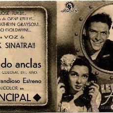 Cine: DIPTICO - LEVANDO ANCLAS - FRANK SINATRA - GENE KELLY - KATHRYN GRAYSON - DORSO CINE PRINCIPAL. Lote 48287004
