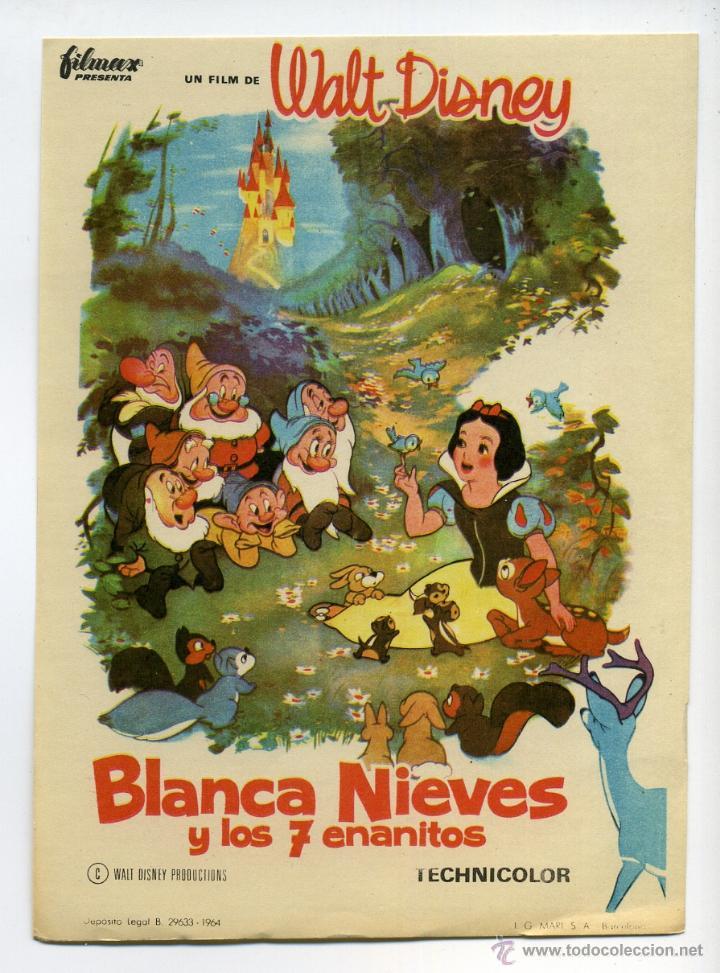 BLANCA NIEVES Y LOS 7 ENANITOS, PROD. WALT DISNEY. (Cine - Folletos de Mano - Infantil)